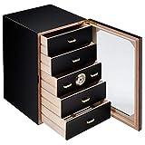 Cigar Box, 130 Electronic Cigar Cooler Humidor with Hygrometer & Humidifier, Cigar Humidor Desktop Cigar Box Glass Door 5 Drawers (US Stock)