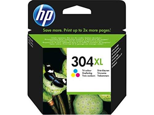 HP 304XL N9K07AE Cartuccia Originale, ad Alta Capacità, da 300 Pagine, per Stampanti a Getto di Inchiostro HP DeskJet 2620 e 2630; 3720; 3730; 3750 e 3760, ENVY 5010, 5020 e 5030, Tricromia