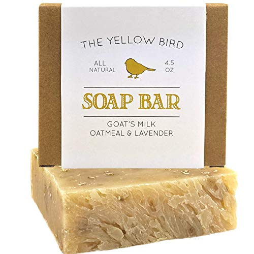 Lavender Goats Milk Soap Bar with Oats - Gentle Exfoliating Bath Soap. Moisturizing Dry Skin Face & Body Wash. Mild Natural and Organic Soap. Made in the USA