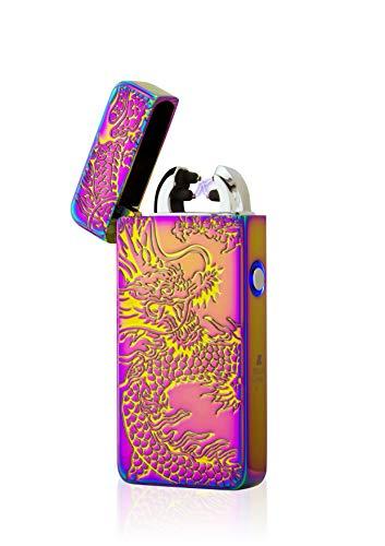 TESLA Lighter T08 Lichtbogen Feuerzeug, Plasma Double-Arc, elektronisch wiederaufladbar per USB, ohne Gas und Benzin, mit Ladekabel, in edler Geschenkverpackung, Drache 3D Regenbogen