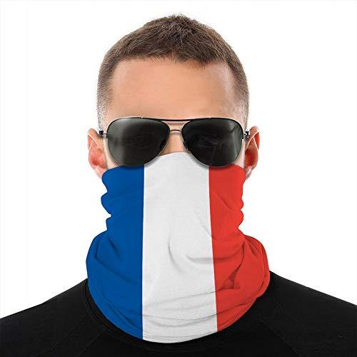 Holefg3b Unisex Microfibra Cuello Polaina Cubierta Escudo Bandana pasamontañas Francia Bandera Francesa Colores Oficiales Tubo pasamontañas