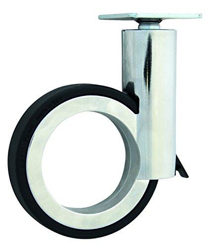 HSI Diseño de Ruedas para muebles (con placa y freno zamak, cromo/negro, 120mm, 1pieza, 261430.0
