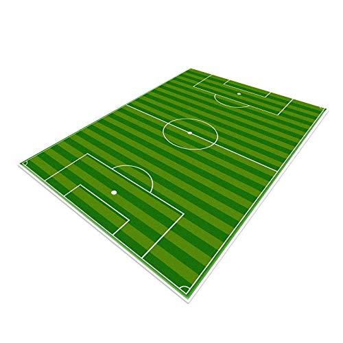 Alfombra de campo de fútbol, alfombra de fútbol, alfombra de fútbol, divertida decoración del hogar, tapete de juego para niños y niñas, deportes, sala temática, verde, 140 x 200 cm