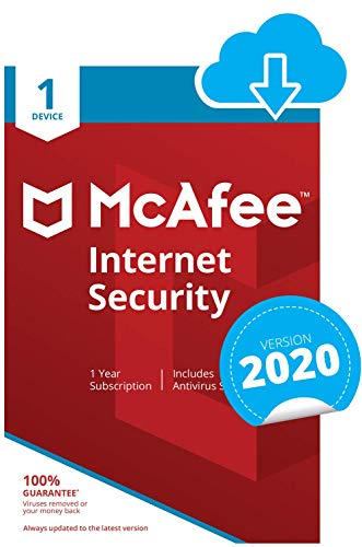 McAfee Internet Security 2021 | 1 Device | 1 Year | PC/Mac/Android/Smartphones | Download Code