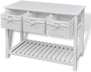 Pissente Buffet Commode, Table Console avec Panier Meuble d'Entrée avec Compartiment pour Salon Chambre Entrée Hôtel, 100 ...