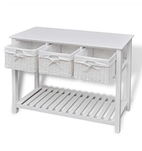 Pissente Buffet Commode, Table Console avec Panier Meuble d'Entrée avec Compartiment pour Salon Chambre Entrée Hôtel, 100 x 39 x 76 cm