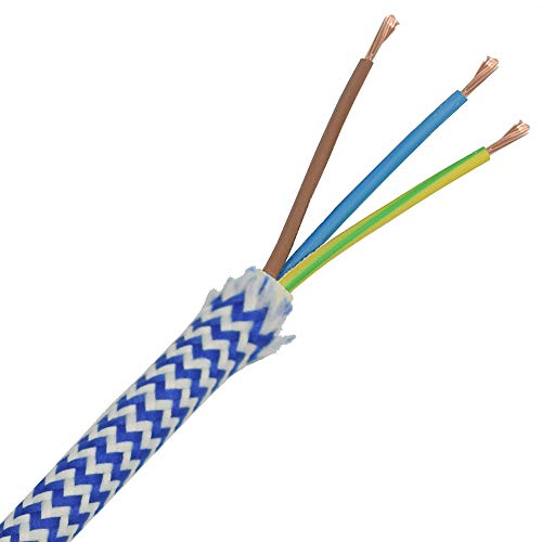 3m Stoffkabel Blau Weiß Raster gezackt 3G 0,75qmm Textilkabel Lampenkabel Leuchtenkabel Kabel Stromkabel umsponnen Zickzack …