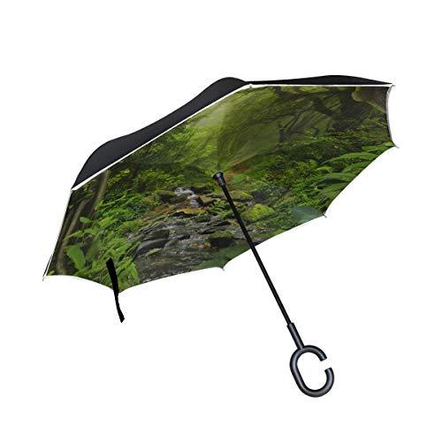 779 Double Layer Inverted Reverse Umbrella Großer grüner Baumdschungel-Wandteppich Forest Reverse Umbrella Kleiner, leicht klappbarer Regenschirm Winddichter UV-Schutz für Regen mit C-förmigem Griff
