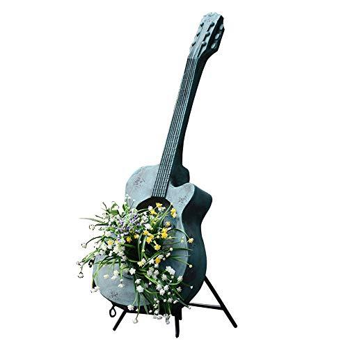 XHZJ Garten-Dekoration Gitarre Flowerpot kreative Persönlichkeit Garten-Dekoration im Freien Balkon Terrasse Retro Pflanzen Seeder Retro Old Style