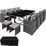 TecTake 800823 Rattan Garden Dining Set | 8 Chairs + 4 Stools + 1 Table | incl. Protection Slipcover | Stainless Steel Screws (Grey)
