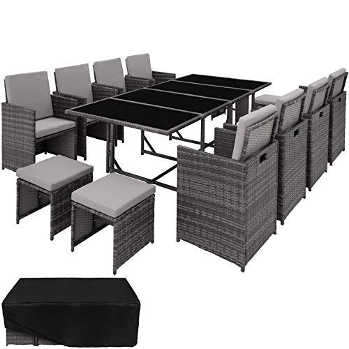 TecTake 800823 Poly Rattan 8+4+1 Sitzgruppe, 8 Stühle 4 Hocker 1 Tisch, als Würfel verstaubar, inkl. Schutzhülle & Edelstahlschrauben (Grau | Nr. 403864)