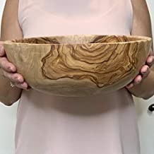 Ruccello Olive Wood Salad Bowl   Handmade Artisan Bowl   100% Natural Wood   Perfect for Salads, Serving, Entertaining   Beautiful Wood Grain Made in Tunisia (11 Inch)