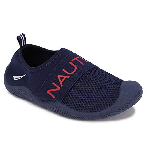 Nautica Kids Youth Athletic Water Shoes Aqua Socks Slip-on Sandals-Windward Youth-Navy/Red-1
