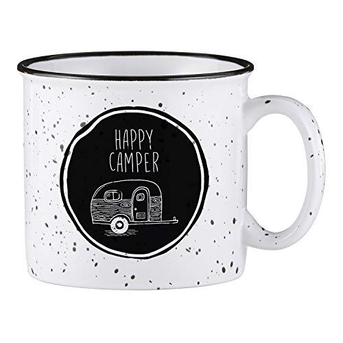 Creative Brands SIPS Drinkware Ceramic Campfire Mug, 1 Count (Pack of 1), Happy Camper