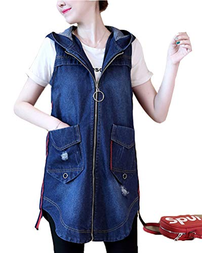 Mujer Chaleco de Mezclilla Denim Jacket Suelto Sin Mangas Chaqueta Jeans Larga Cárdigan Azul L