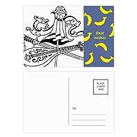 中国の傘を描いてドラゴンソード バナナのポストカードセットサンクスカード郵送側20個