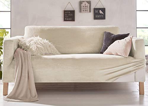 Biancheriaweb - Funda de sofá elástica, Efecto Terciopelo, Modelo Muy Suave, Color Crema