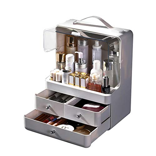 Boîte à maquillage Boîte à maquillage Sac de maquillage Apparence simple Grande capacité Résistant à l'eau et à la poussière Facile à nettoyer Facile à transporter, matériau non toxique Cadeau pour fe