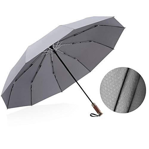 BLACK ELL Reisen automatischer Regenschirm,Reise Kompakt Hochwertiger Umbrella,Vollautomatischer vergrößerter Regenschirm, dreifach verstärkter winddichter Regenschirm-grau_10 Aktien