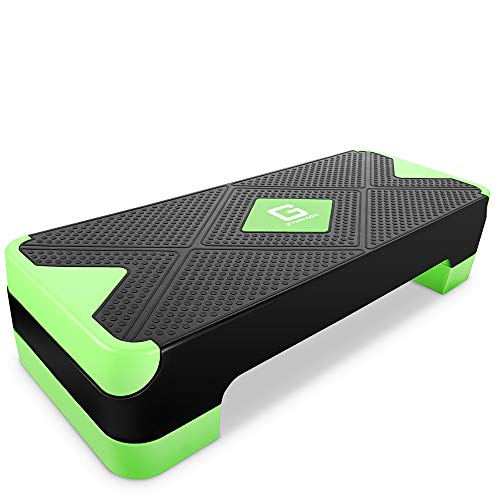 GYMMAGE 踏み台昇降 運動 ステップ台 2段階調節 幅68cm 有酸素運動 エクササイズ ダイエット 運動不足解消 カロリー消化 滑り止め (グリーン)