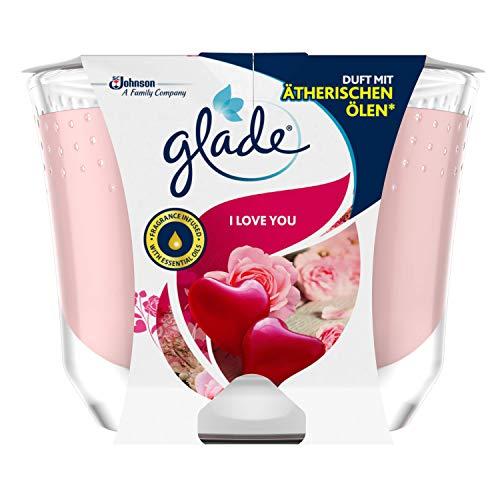 """Glade Brise - Vela aromática de larga duración (en vaso de cristal, con texto""""I Love You, hasta 39 horas de combustión, 1 unidad de 224 g)"""