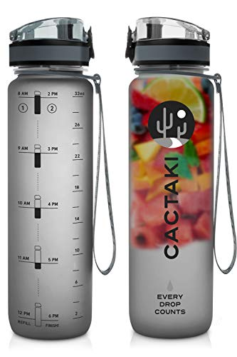 Cactaki Water Bottle with Time Marker, Large BPA Free Water Bottle, Non-Toxic, 1 Liter 32 Oz, for...