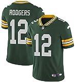 Xyy Camiseta del Jersey del fútbol de la NFL Green Bay Packers Aaron Rodgers # 12, fútbol Americano Ropa de Deporte, Camiseta Vestimenta, Ventiladores de Bordado Versión Fan Camisetas