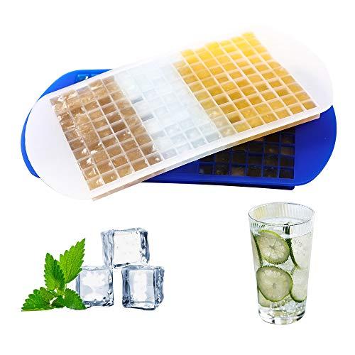 Dribotway Mini cubiteras de silicona para 160 cubitos de hielo, 2 unidades, para cocina, bares, whisky, cócteles y bebidas, color blanco + transparente (juego de 2)