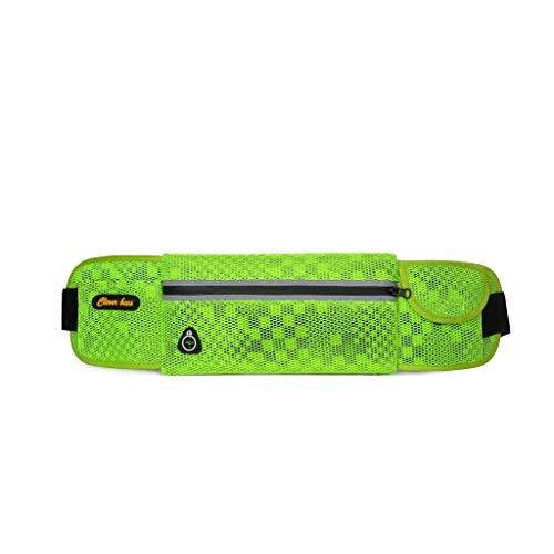 XL- Running Belt Runner Taille Pack verstelbare riemtas hoofdtelefoon poort fietsen Outdoor Sports Marathon voor vrouwen en mannen groen C.