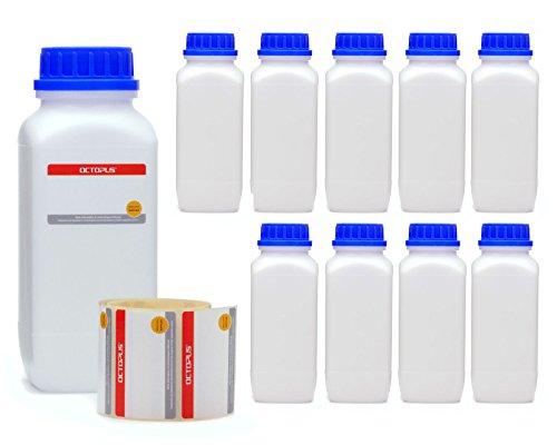 Octopus 10x 1000 ml Weithals-Flaschen mit Schraubverschluß, Chemiekalienflaschen, Laborflaschen mit Deckel als Aufbewahrungsbehälter für Labor, Küche oder Hobby