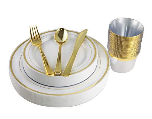 Teller, Becher und Besteck aus Kunststoff, goldfarben, 150 Stück gold