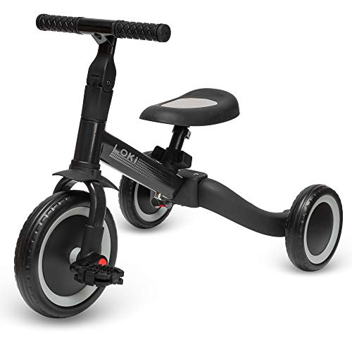 ib style® Loki 4 in 1 Multifunktions Dreirad | Laufrad | Balance Fahrrad | 1-5 Jahre | Bis 25kg | 2 Farben | Anthrazit