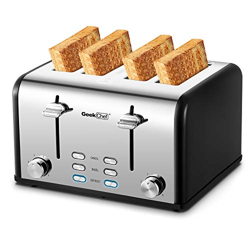 Geek Chef 4-Slice Toaster Stainless Steel Extra-Wide Slot Toaster with Dual Control Panels of Bagel/Defrost/Cancel Function, 6 Toasting Bread Shade Settings, Removable Crumb Trays, Auto Pop-Up