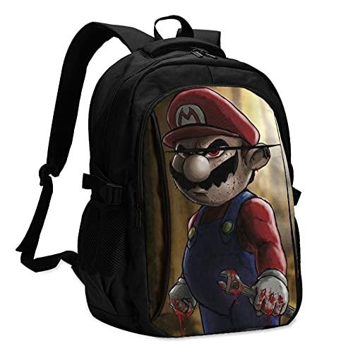 Dark MarioBackpacks Mochila antirrobo de viaje de negocios con cable de carga USB/interfaz de auriculares para portátil