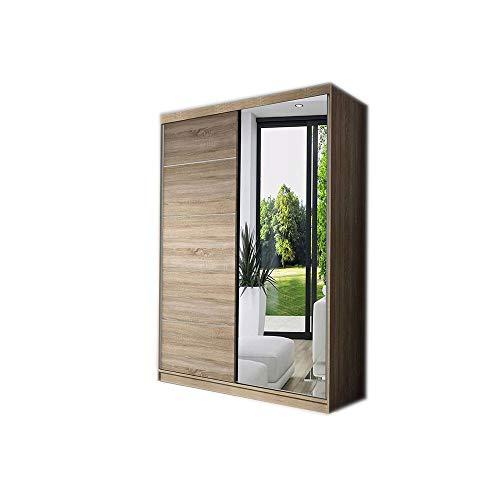 MOEBLO Kleiderschrank Schwebetürenschrank mit Spiegel 2-türig Schrank mit Einlegeböden und Kleiderstange Gaderobe Schiebtüren BxHxT 120x200x61 NOAH05 (Sonoma)