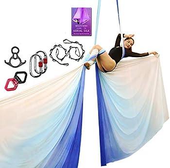 Aerial Silks Deluxe Equipment Set for Aerial Yoga Aerial Yoga Hammock Aerial Acrobatic,Circus Arts Aerial Dance L 10m W 2.8m  Gradual Change Blue