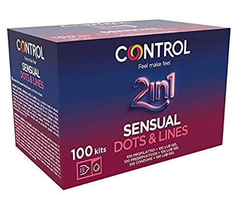 2. Condones estriados con lubricante Control 2 in 1 Sensual Dots & Lines