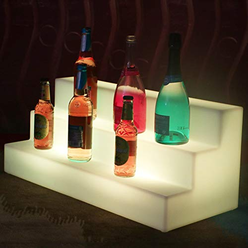 Botellero Iluminado - Base de Botella de Vino con Luz LED Que Cambia de Color con Decoracion Iluminada para Casa Bar Cumpleaños Partido Cóctel Estante De Vidrio
