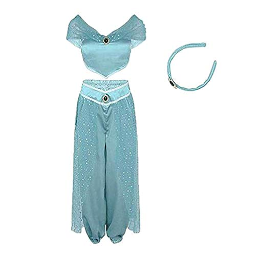 Damen Aladdin Jasmin Prinzessinnenkostüme Fancy Pailletten Anzug Kleid Halloween Party Cosplay -  Blau -  Medium
