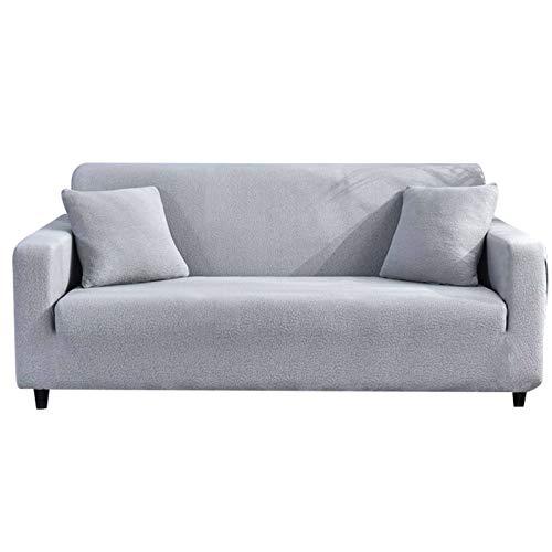 HALOUK Stretch Sofabezug Wasserdicht,Sofaüberwurf 3 Sitzer Abwaschbar Spandex Sofa Abdeckung Möbelschutz mit Elastischem Boden für Wohnzimmer-Hellgrau-3 Sitzer (190-230cm)