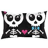 Jupsero Fundas de Almohada Cute Kawaii Skeleton Love Hotel Quality Throw Pillow Cases Multi Color Stardard Tamaño 45x76CM (20x30IN)