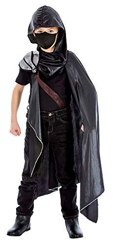 Das Kostümland Assassin Kämpfer Kostüm für Kinder - Schwarz - Gr. 128