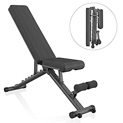 BARWING Adjustable Weight Bench- Folding Full Body Workout Bench with Dragon Flag, 8+4+2 Positions Multi-Purpose Incline/Flat/Decline Bench for Home Gym Strength Training (Black)