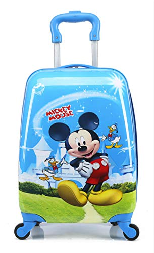 18' McQueen Elsa Anna Barbies Micky Mouse Minnie Minion Spiderman Children Kids Holiday Travel Character Suitcase Luggage Trolley Bags (Micky Mouse & Donald Duck)