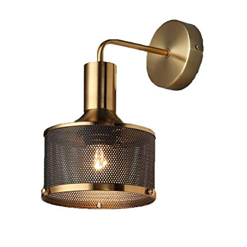 Lámpara de pared con pantalla de jaula de metal vintage Apliques de pared interiores Lámpara industrial Lámpara de lectura para dormitorio Lámpara de noche E27 Luces decorativas para sala de estar