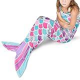 Pink Mermaid Tail Blanket - Plush Mermaid Wearable Blanket for Girls Teens Adults All Seasons Soft Flannel Fleece Snuggle Blanket Mermaid Scale Sleeping Bag for Birthday, 55'' x 24''
