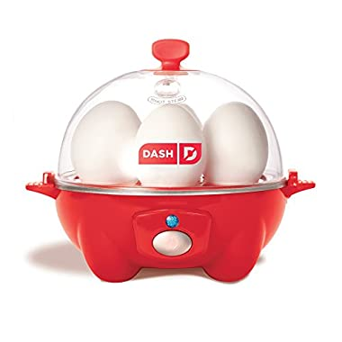Dash Rapid Egg Cooker: 6 Egg Capacity Electric Egg Cooker for Hard Boiled Eggs, Poached Eggs, Scrambled Eggs, or Omelets with Auto Shut Off Feature - Red