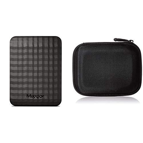 Maxtor STSHX-M401TCBM - Disco Duro Externo de 4 TB (2.5', USB 3.0/3.1 Gen 1) & AmazonBasics - Funda para Disco Duro Externo, Color Negro, 13.2 x 10.5 x 3.8 cm
