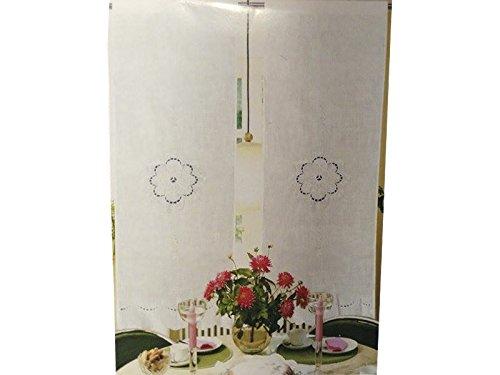 COPPIA TENDINE IN MISTO LINO RICAMATE 60X240cm COD. 10