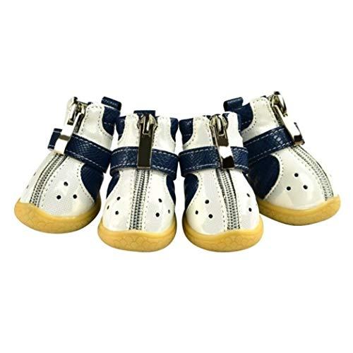 AMURAO Haustier PU Fischschuppen Muster Schuhe für kleine mittelgroße Hunde Welpen Herbst Winter rutschfeste warme Welpenstiefel
